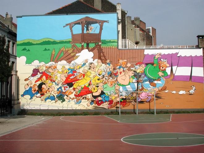 Le mural Astérix du parcours BD de Bruxelles