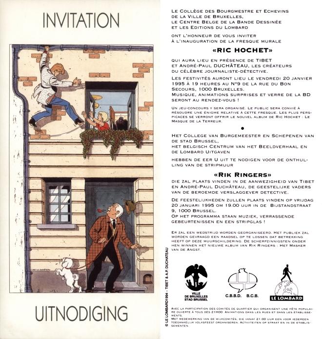 Carton d'invitation 'Ric Hochet' de Tibet et A.P. Duchâteau