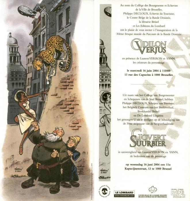 Le carton d'invitation à l'occasion de l'inauguration du mural Odilon Verjus