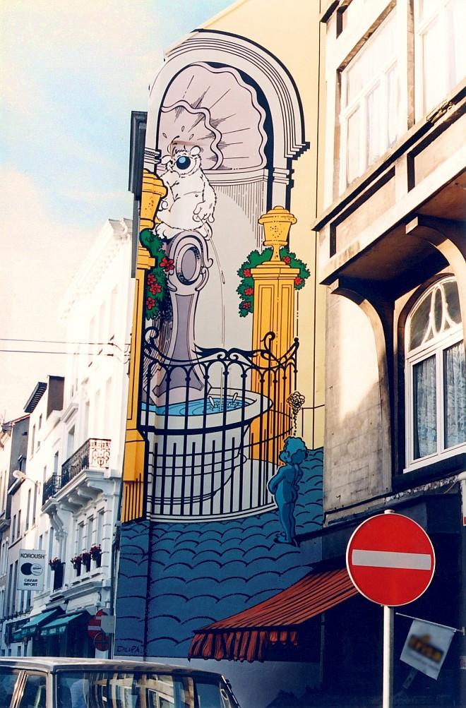 Le mural 'Cubitus' de Dupa du « Parcours BD » de la Ville de Bruxelles