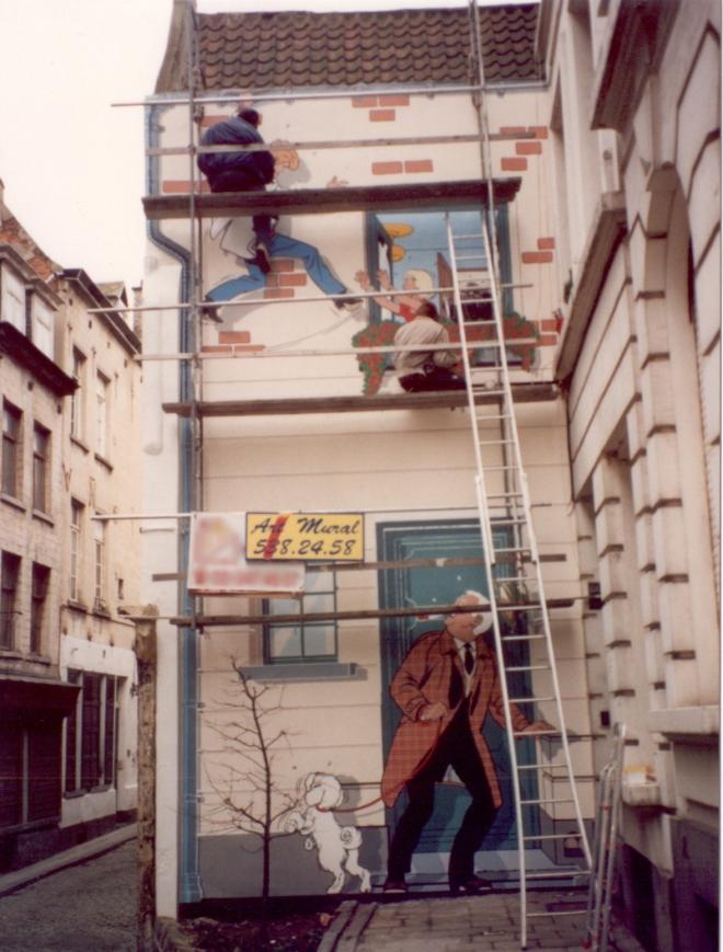 Photo prise pendant que nous réalisions le mural en novembre 1994