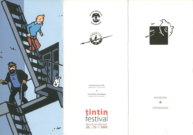 Carton d'invitation fresque Tintin