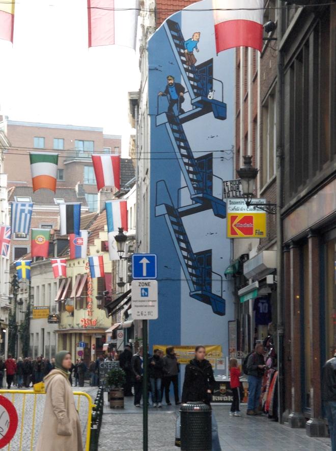 Fresque Tintin du parcours B D de Bruxelles