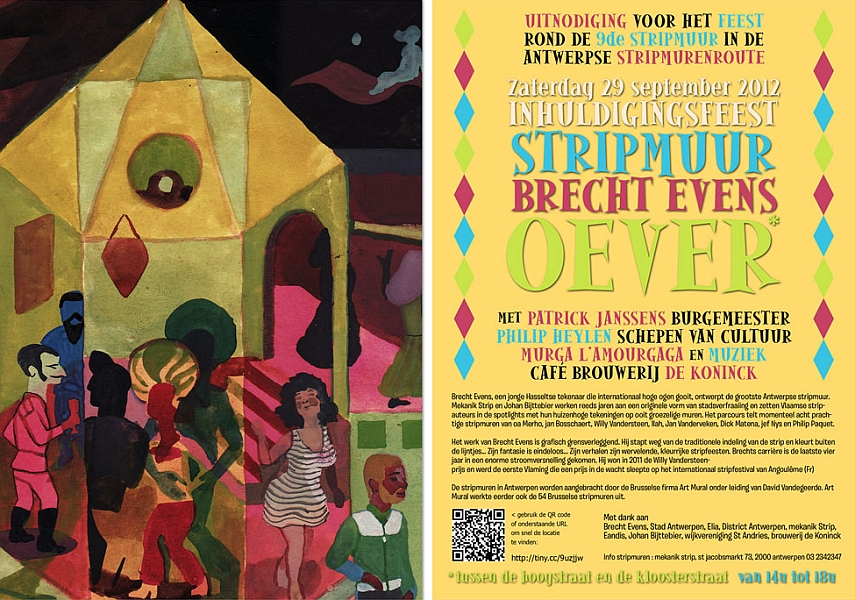 Carton d'invitation du mur de Brecht Evens à Anvers